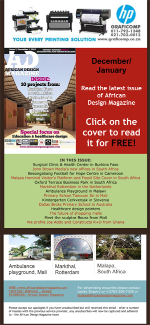 Read the December issue of Africa Design Magazine and don't miss the KSA article.