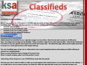 KSA planning to launch a classifieds section to their web site