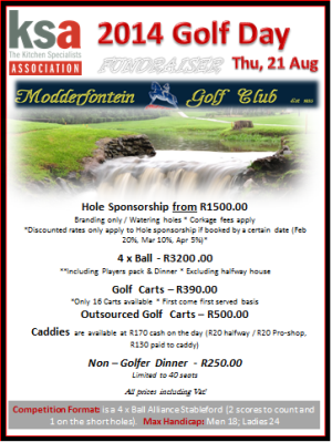 Gauteng Annual Golf Day - 21 August 2014 - Bookings Open