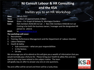 Invitation to the KSA / NJ Consult HR workshop