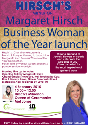 Join Hirsch's for the launch of Business Woman of the Year 2015