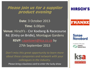 You are invited to join Hirsch's, Franke and Sonae at the KSA product evening