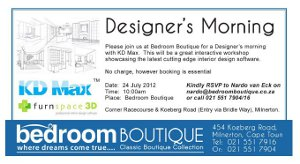 Hirsch's  & Furnspace invite you to a Designer's morning with KDMax