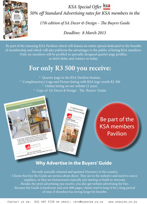 SA Decor & Design Guide special offer to KSA members - last chance to take part