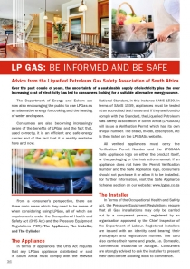 LP Gas - be informed and be safe