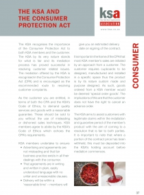 The KSA and the Consumer Protection Act
