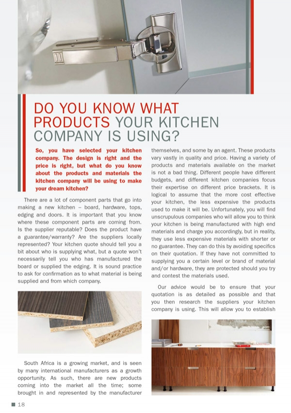 Do you know what products your kitchen company is using?