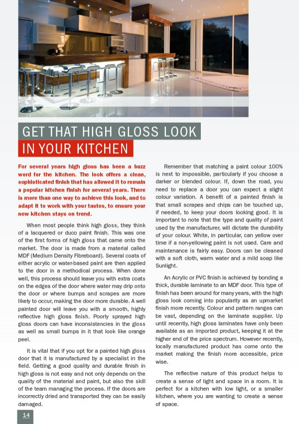 Get that High Gloss Look in your Kitchen