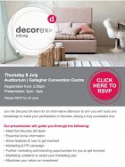 Decorex exhibitors briefing around the courner